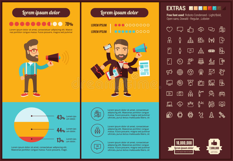 Social Media flat design Infographic Template. Social Media infographic template and elements. The template includes illustrations of hipster men and huge stock illustration