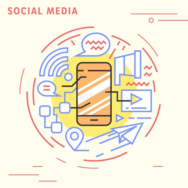 Social media flat line design concept. Playful and modern illustration for business and technology. Playful and modern illustration for business and technology vector illustration
