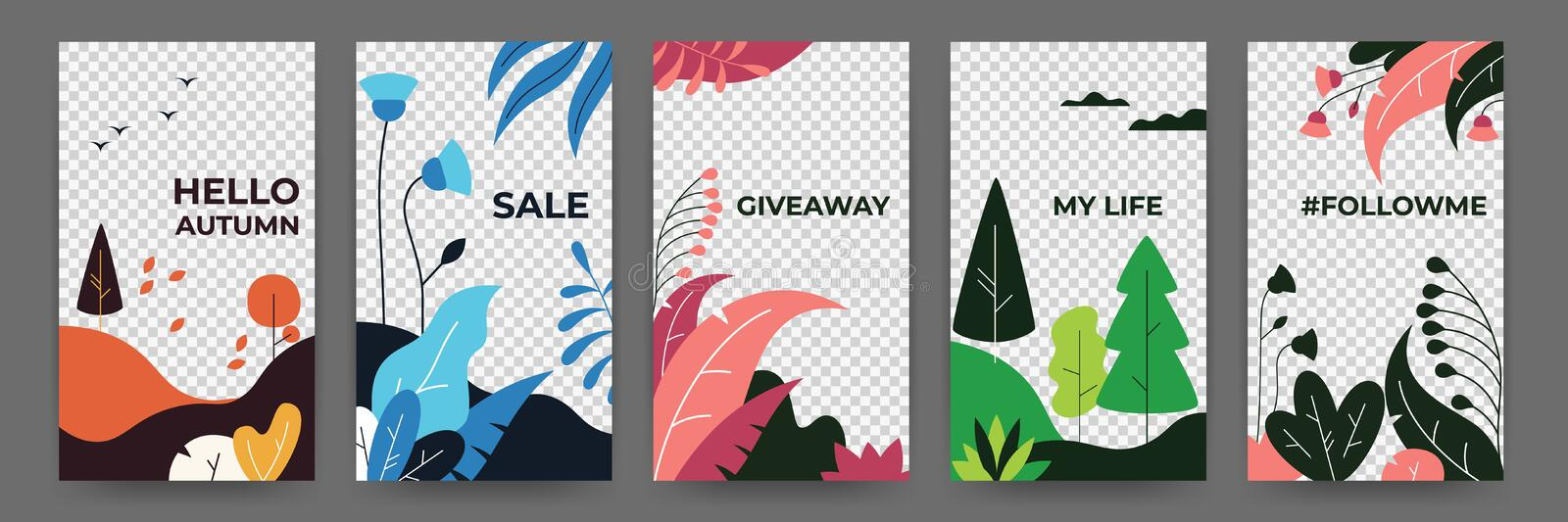 Social media flat plant posters. Abstract vibrant stories floral frames template. Vector illustration magical landscape royalty free illustration