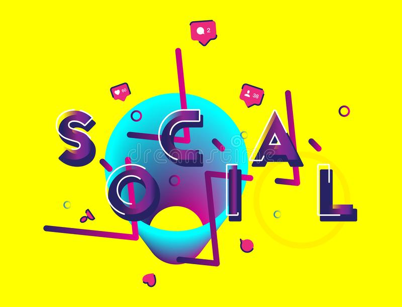 Social media - a font inscription with icons of new friends, likes and comments with beautiful design elements. Flat vector illust. Ration EPS 10 stock illustration