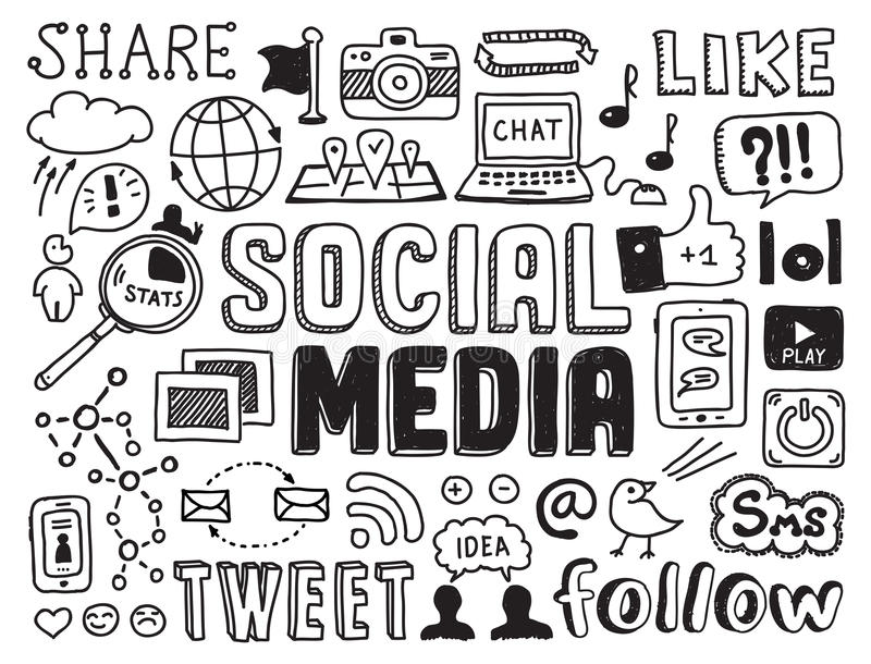 Social Media-Gekritzelelemente stock abbildung