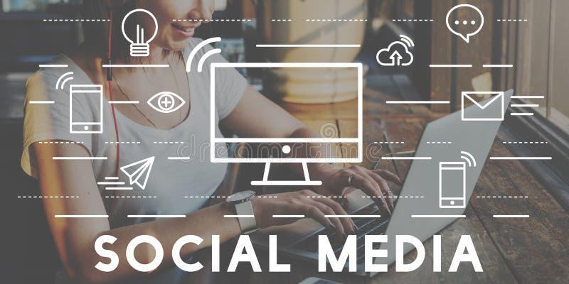Social Media-Gerät-Kommunikations-Verbindungs-Konzept stockfoto