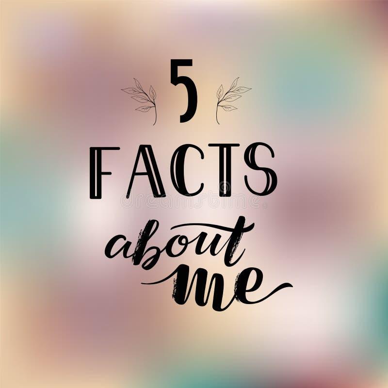 Social Media-Geschichten-Schablone, die Tatsachen SMM 5 über mich auf romantischem Farbhintergrund beschriftet stockfotos