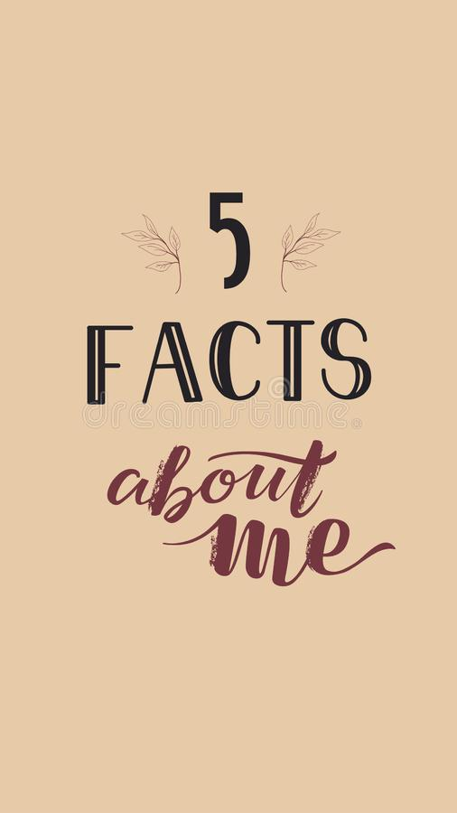 Social Media-Geschichten-Schablone, die Tatsachen SMM 5 über mich auf rosa Hintergrund beschriftet lizenzfreie stockfotografie