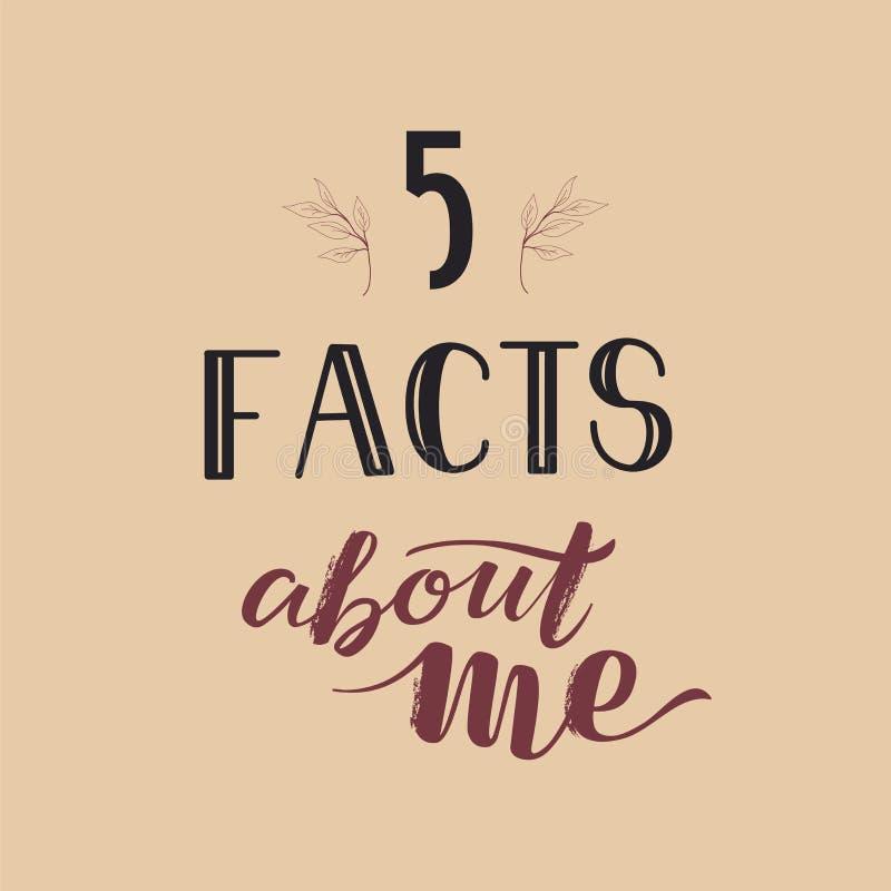 Social Media-Geschichten-Schablone, die Tatsachen SMM 5 über mich auf rosa Hintergrund beschriftet stockfotografie