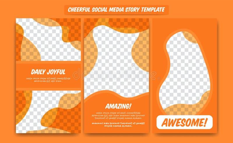 Social Media-Geschichtenrahmen-Schablonenentwurf der Zusammenfassung modischer moderner in der orange netten glücklichen Spaßfarb vektor abbildung