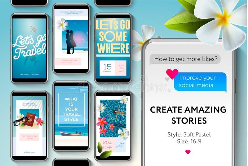 Social Media-Geschichtenschablonen für Marken und Blogger Schaffen Sie Geschichten über das Reisen Moderne Förderungsnetzfahne fü vektor abbildung