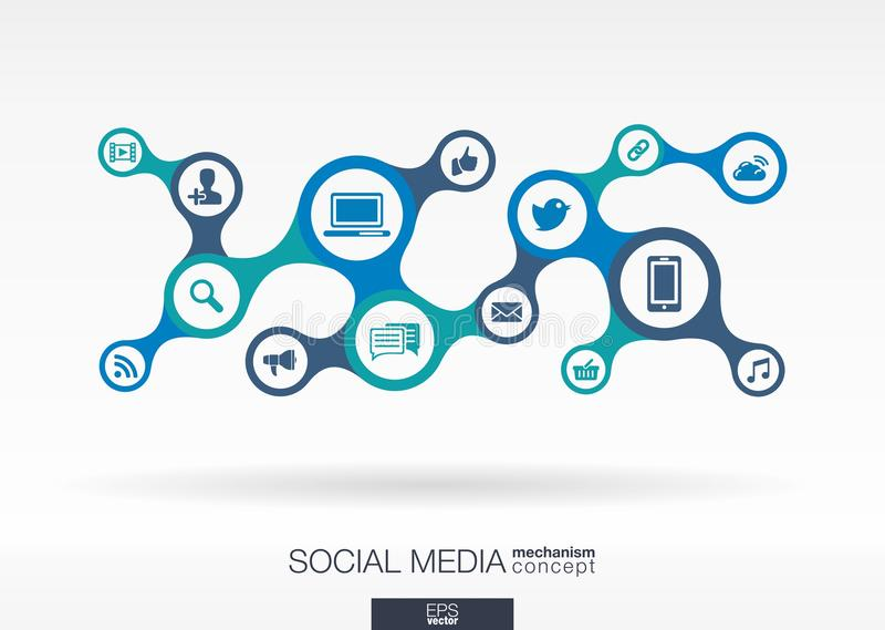 Social media. Growth abstract background with integrated metaballs stock illustration