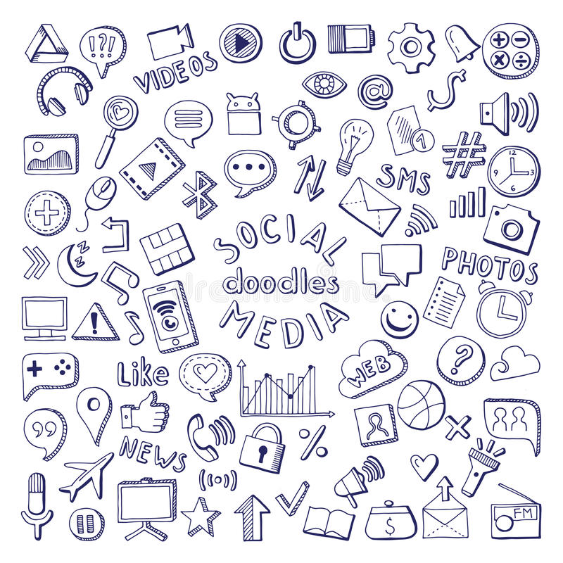 Social media hand drawn icons set. Computer and network doodle vector illustrations. Network media sketch icons, social media doodle stock illustration