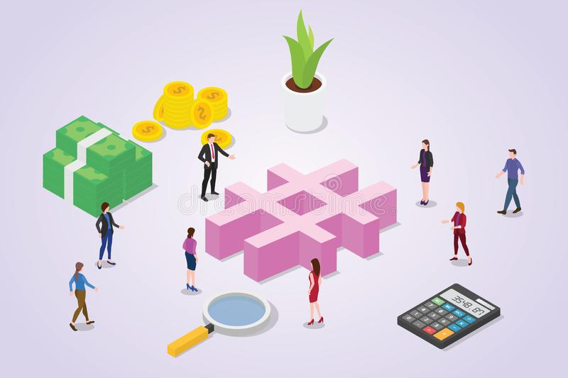 Social media hashtag concept with crowd people and business icon symbol for business with isometric style - vector vector illustration