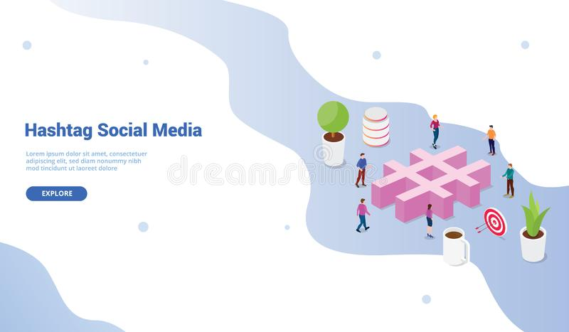 Social media hashtag concept with crowd people and business icon for website template or landing homepage design - vector stock illustration