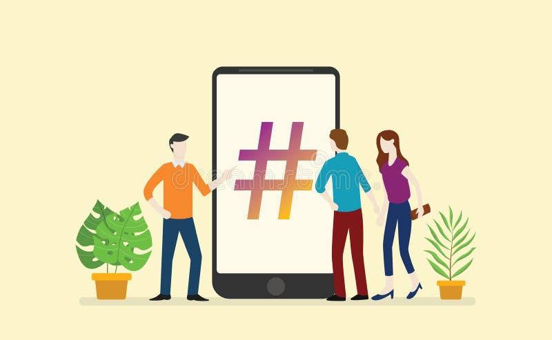 Social Media hashtag Geschäft mit Leutemännern und Frauenkreis im Smartphone App lizenzfreie abbildung