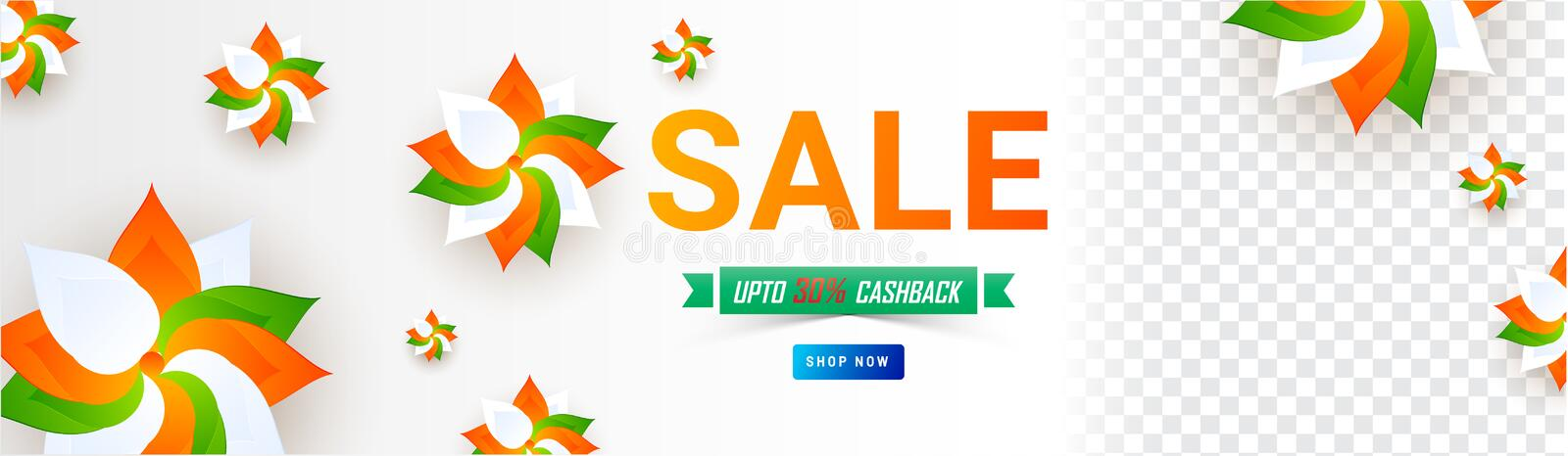 Social Media header or banner design decorated with paper cut tricolor flowers for Republic Day Sale with space for your product stock illustration