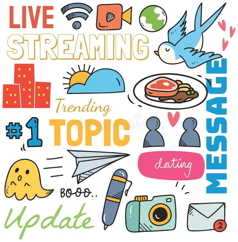 Social Media-Hintergrund in der Gekritzelart-Vektorillustration stock abbildung