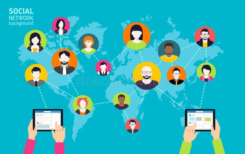 Social Media-Hintergrund - Soziales Netz lizenzfreie abbildung
