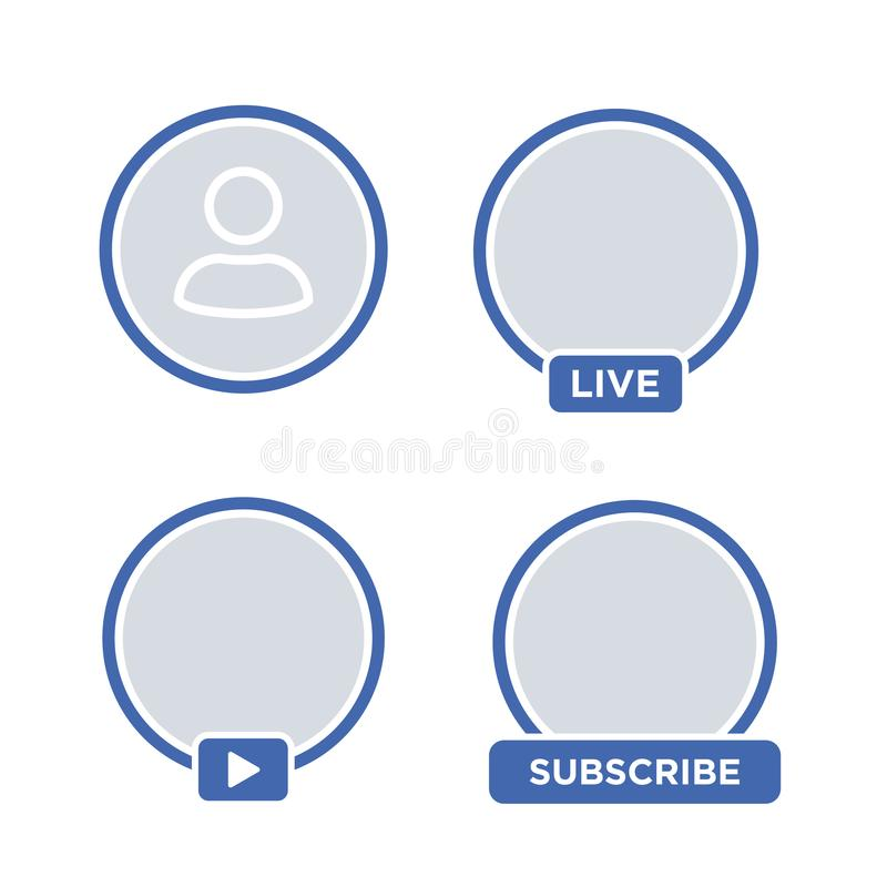 Social media icon avatar LIVE video streaming. Live video facebook button, symbol, sign. Social media, Insta user stream. Element for social network, web vector illustration