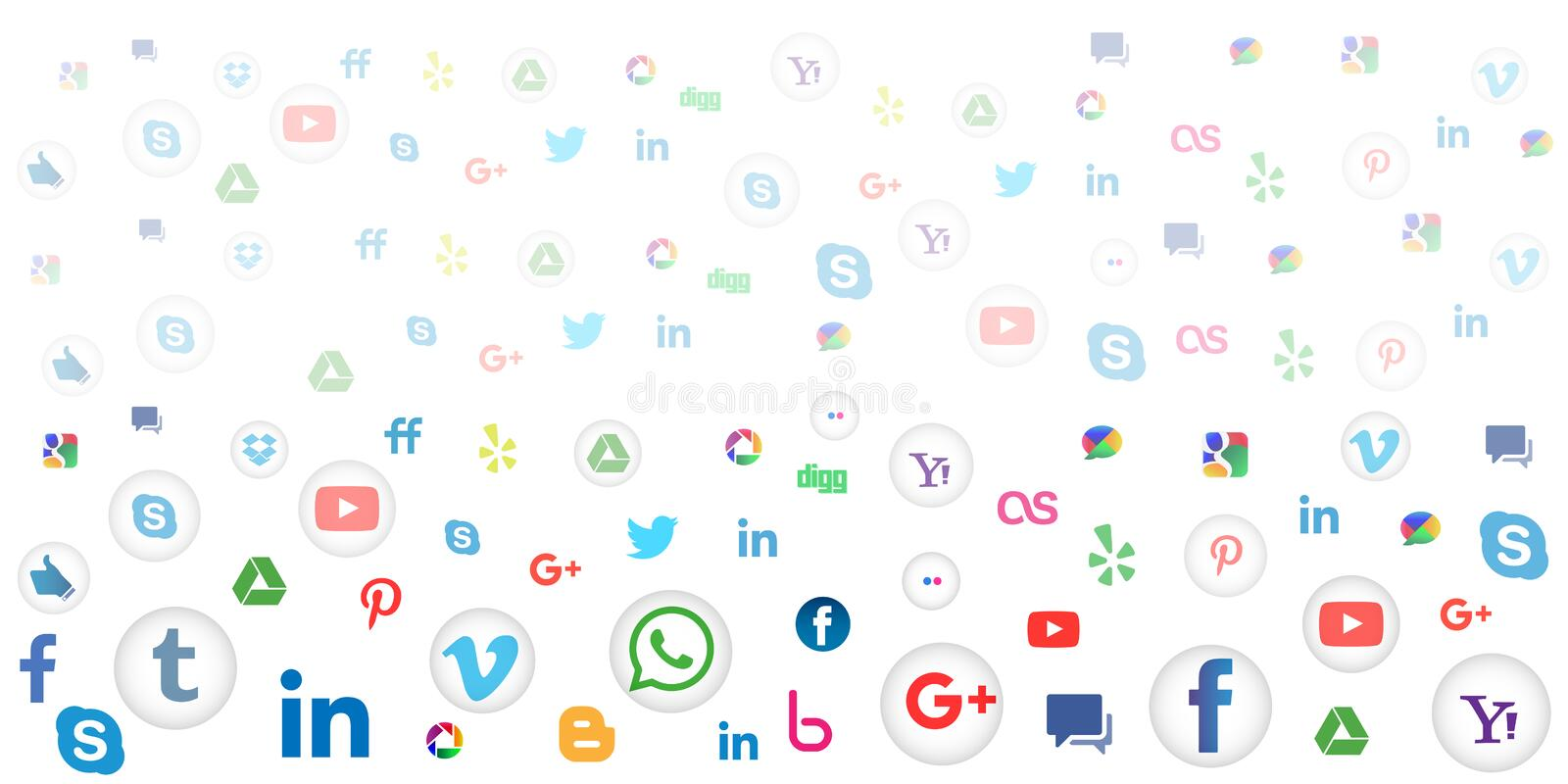 Social media icon background for wallpaper on white background. Social media background of the icons vector. Ai10 file version. This illustration contains stock illustration