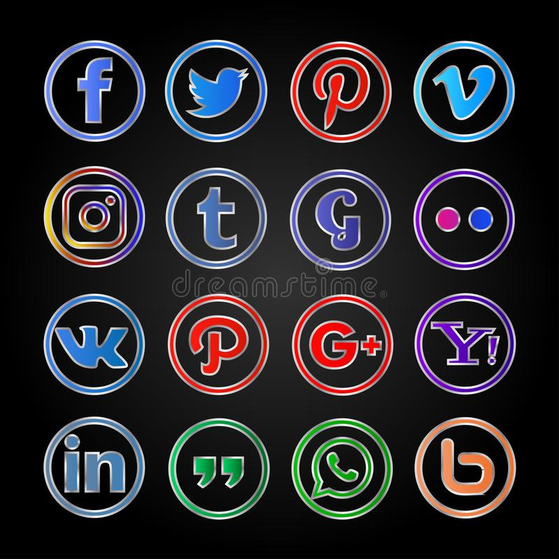 Metalic round social media icon and buttons set vector illustration