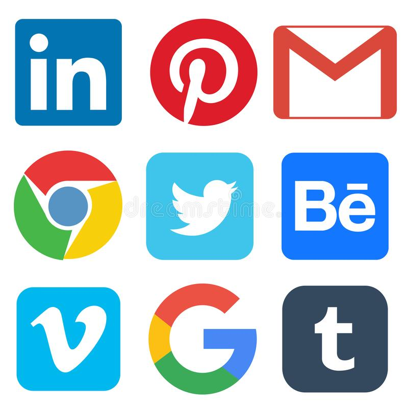 Social media icon for Linkedin, Pinterest, Gmail, Chrome, Google, Twitter, Behance, Vimeo, Tumbler. Illustrative editorial of social media icon for Linkedin stock illustration