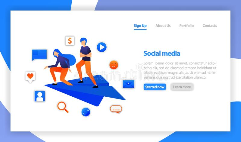 Two young man or Businessman stands on paper airplanes. communication with chatting. flat vector illustration for web, banner royalty free illustration