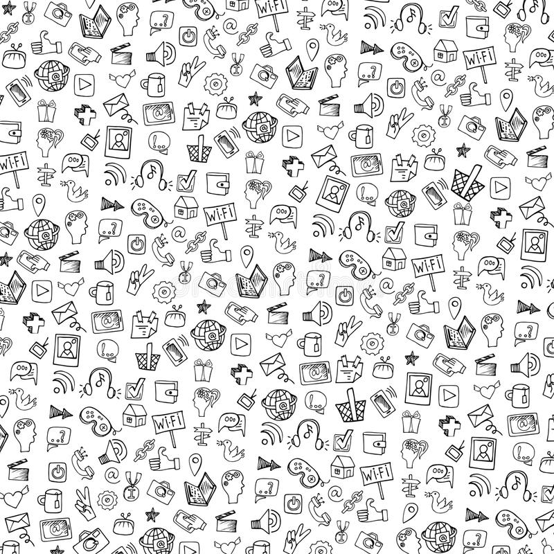 Social Media Icon Pattern,background.Doodle Stock Vector ...