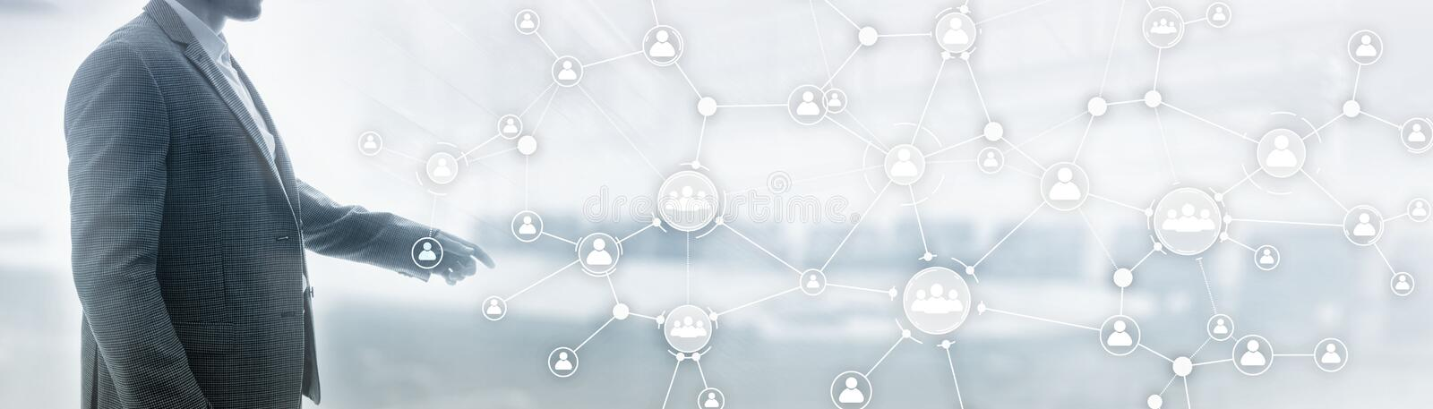 Social media icon people. Communication background. Universal elongated background for the site. royalty free stock photo