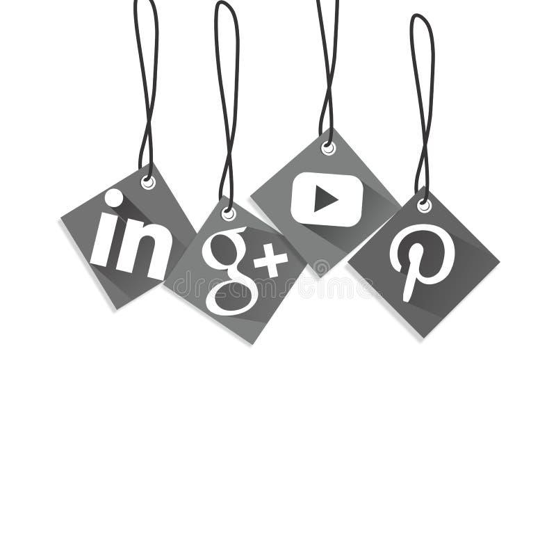 Social media icon square box hanging gray stock illustration
