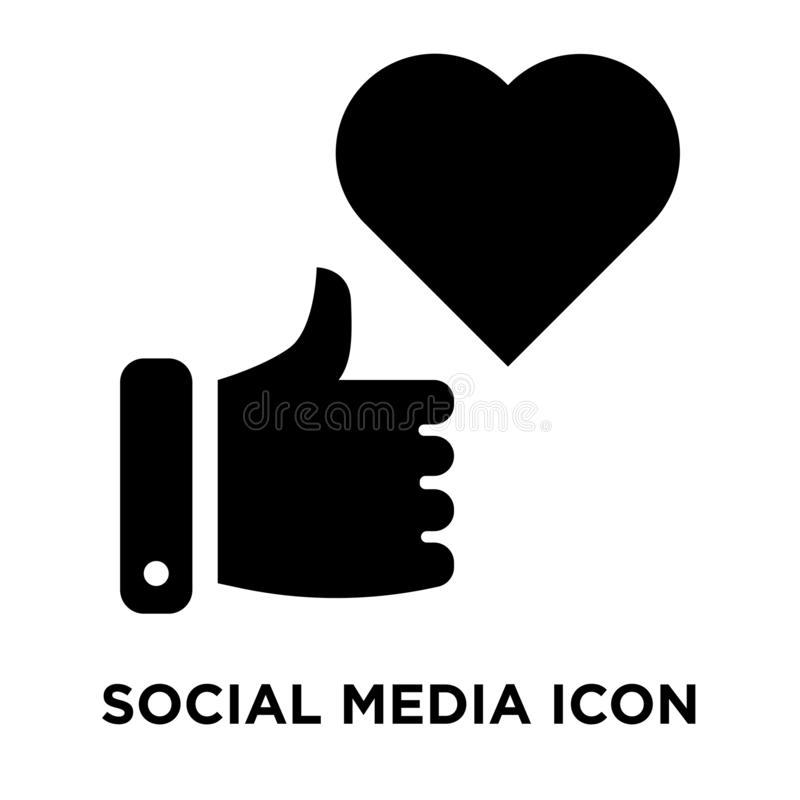 Social media icon vector isolated on white background, logo concept of Social media sign on transparent background, black filled stock illustration
