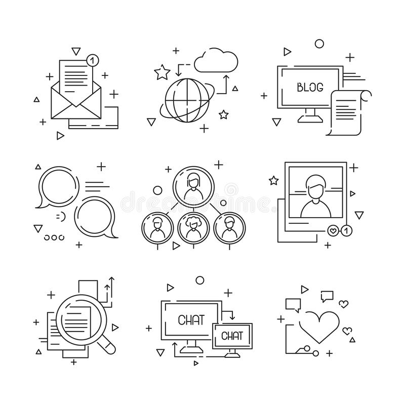 Social media icon. Web community people symbols of group learning to talk photos avatars linear pictures set isolated vector illustration