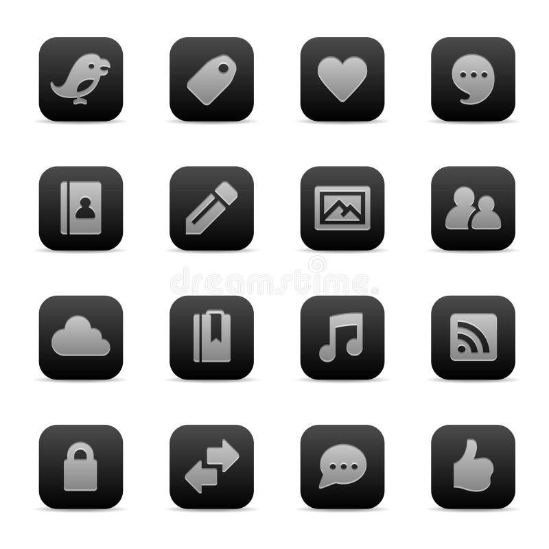 Social media icons. Set of 16 social media networking web icons stock illustration
