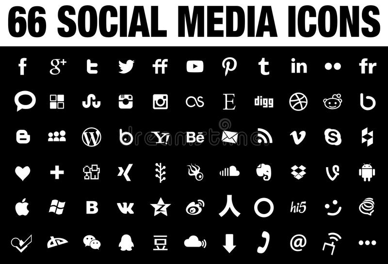 66 Social Media Icons black. 66 simple flat Social Media icons collection, white, the base must have set of icons for webdesign and graphicdesign with all the royalty free illustration
