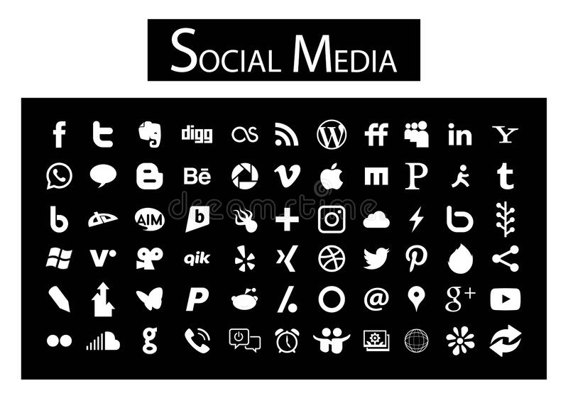 66 Social Media Icons black and white. Chanuka,srilanka,April.07.2020:66 simple flat Social Media icons collection, white, the base must have set of icons for vector illustration