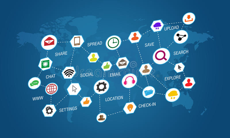 Social media icons on blue background with world stock illustration download social media icons on blue background with world stock illustration illustration of device gumiabroncs Images