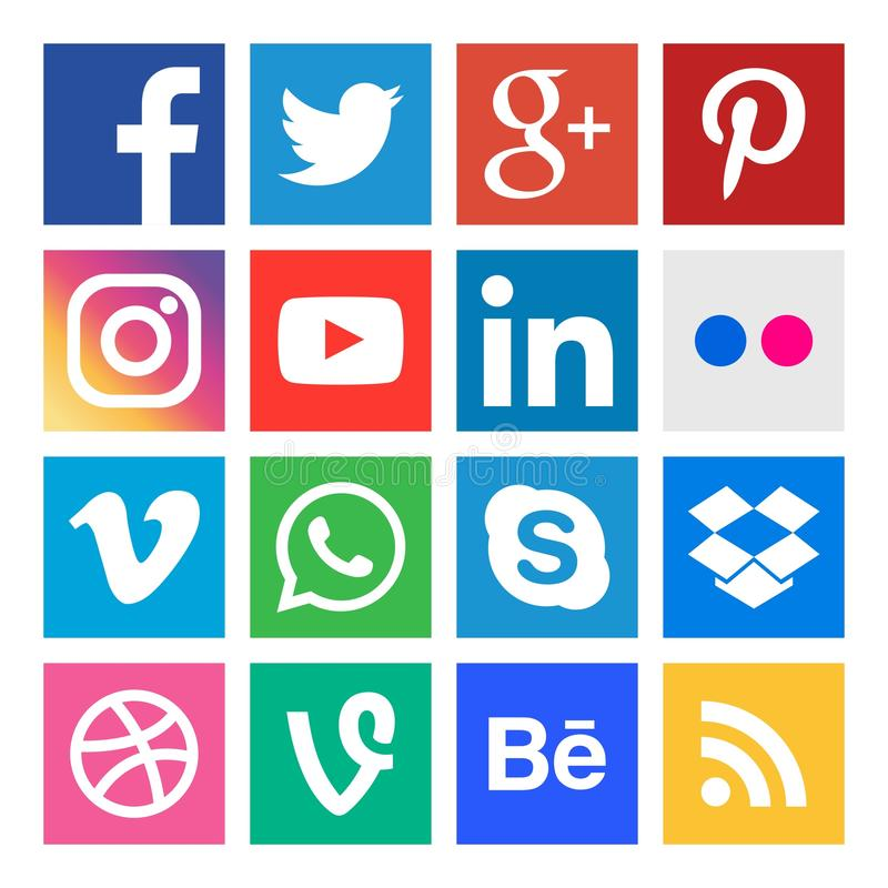 Free Social Media Icons. Buttons Collection In Vector. Stock Photo - 134140360