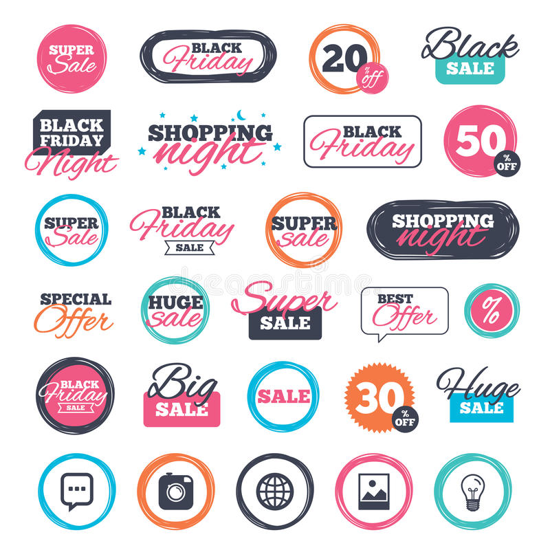 Social media icons. Chat speech bubble and Globe. Sale shopping stickers and banners. Social media icons. Chat speech bubble and world globe symbols. Hipster royalty free illustration