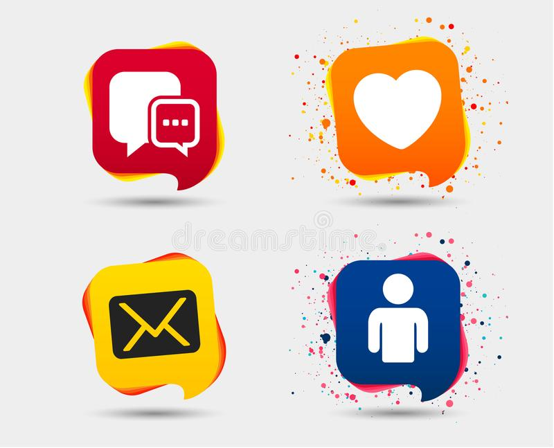 Social media icons. Chat speech bubble and Mail. Social media icons. Chat speech bubble and Mail messages symbols. Love heart sign. Human person profile. Speech vector illustration