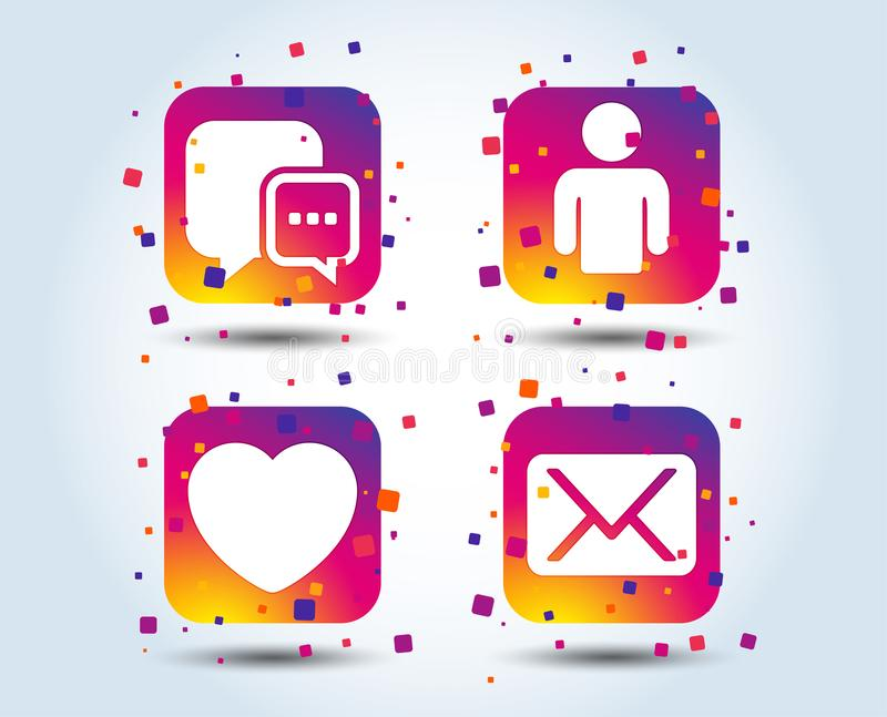 Social media icons. Chat speech bubble and Mail. Social media icons. Chat speech bubble and Mail messages symbols. Love heart sign. Human person profile. Colour stock illustration