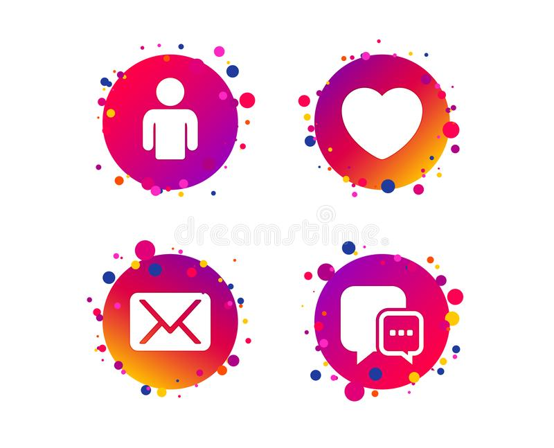 Social media icons. Chat speech bubble and Mail. Vector. Social media icons. Chat speech bubble and Mail messages symbols. Love heart sign. Human person profile stock illustration