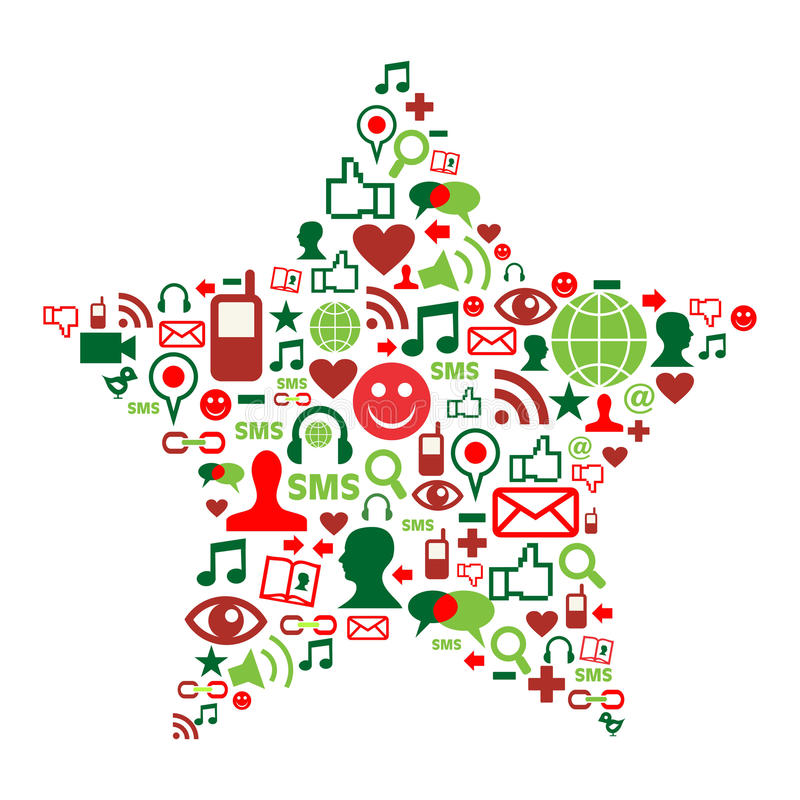 Download Social Media Icons In Christmas Star Stock Vector - Image: 21457238
