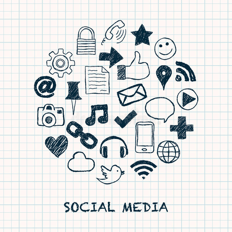 Social media icons in circle stock illustration
