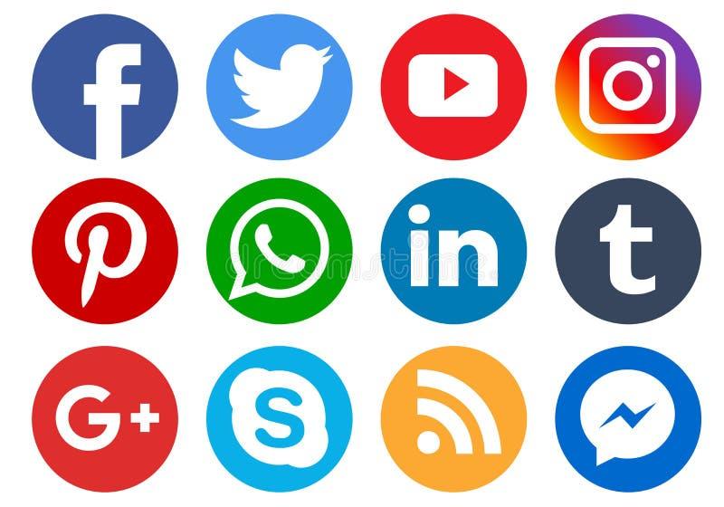 Social media icons royalty free illustration