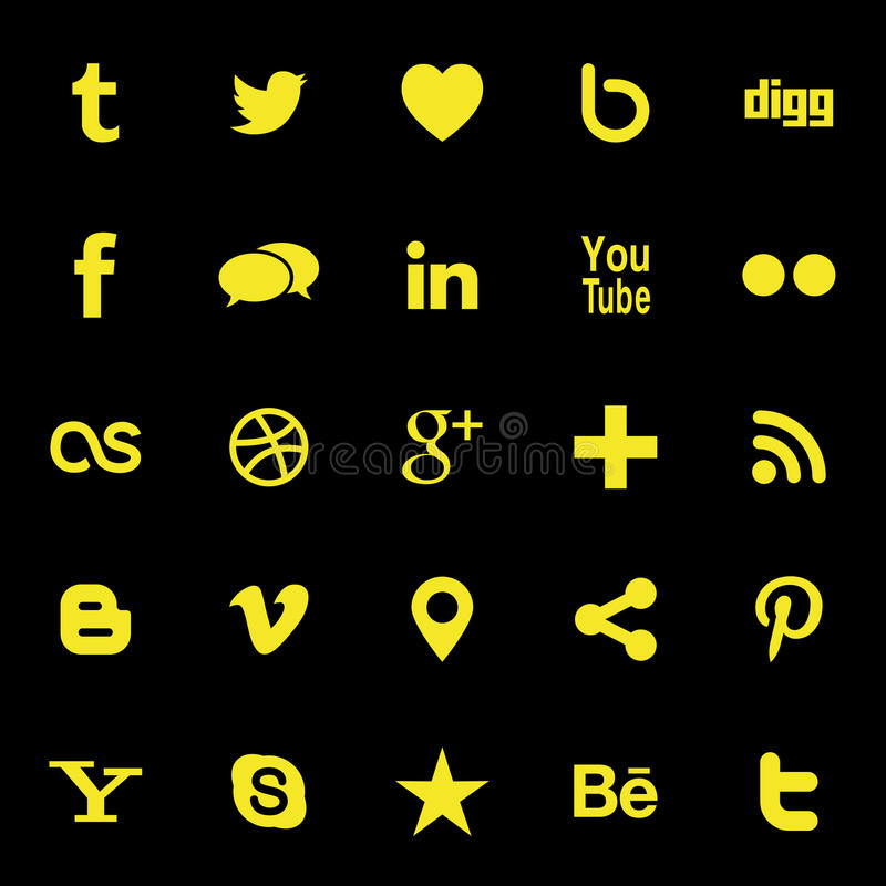 Social Media Icons. Collection of most popular social media and network buttons icons vector illustration