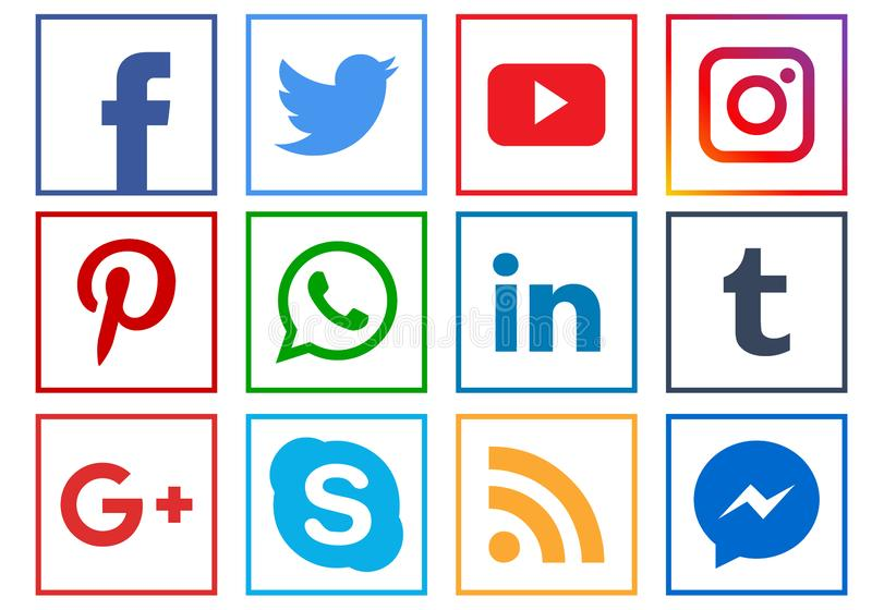 Social media icons. Collection of social media icons square on white background - editable vector illustration stock illustration