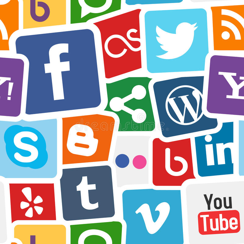 Social Media Icons Colorful Background royalty free illustration