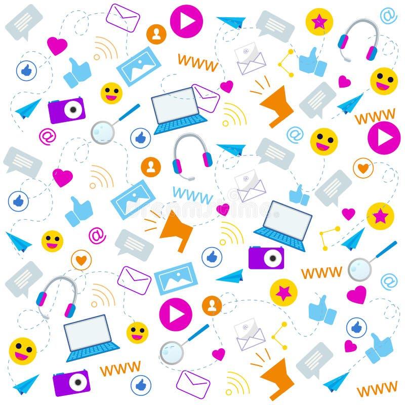 Social Media Icons Communication Symbol Pattern stock illustration