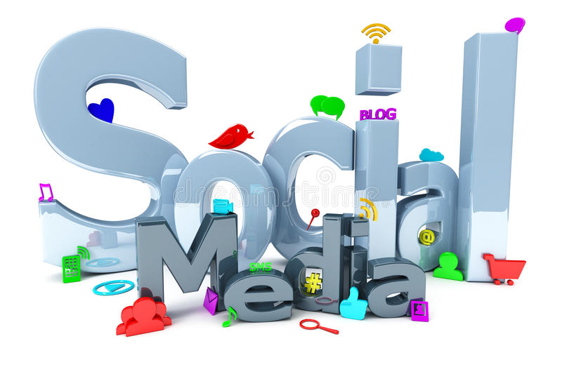 Social Media With Icons Stock Illustration
