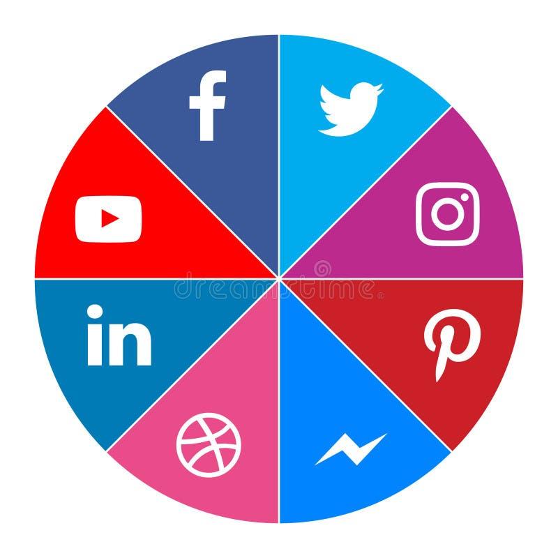 Social media icons facebook twitter youtube instagram messenger linkedIn pinterest dribbble. Color new vector illustration royalty free illustration