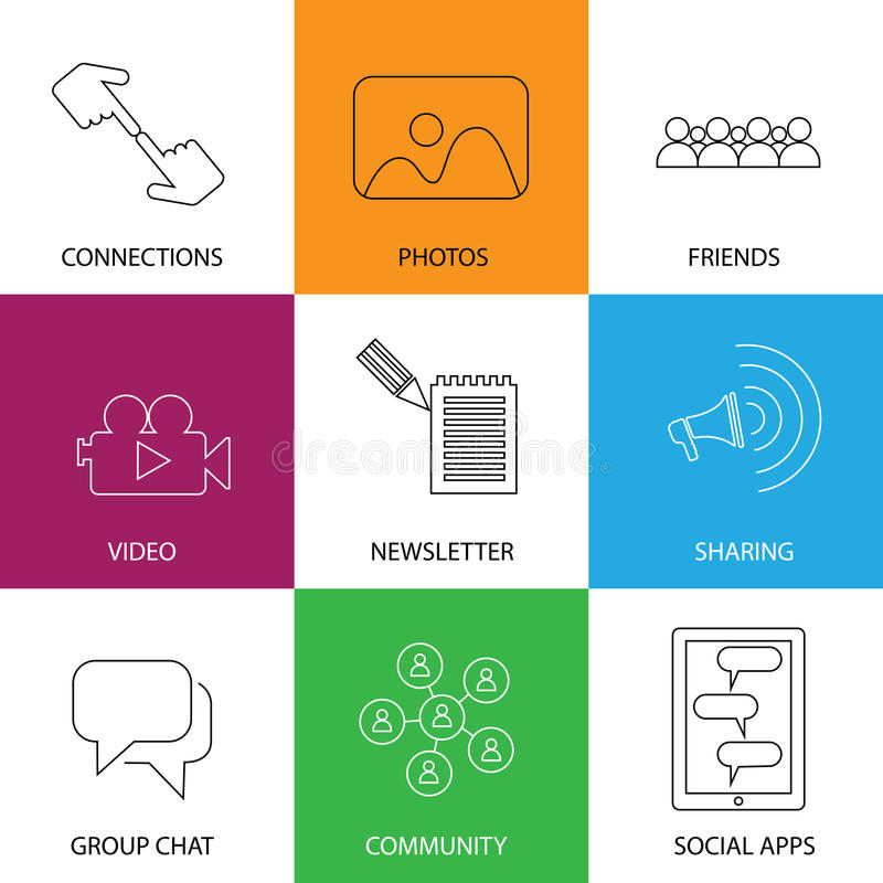 Social media icons of friends, community, videos & photos - concept vector. This graphic represents internet concepts like group chat, mobile apps for sharing royalty free illustration