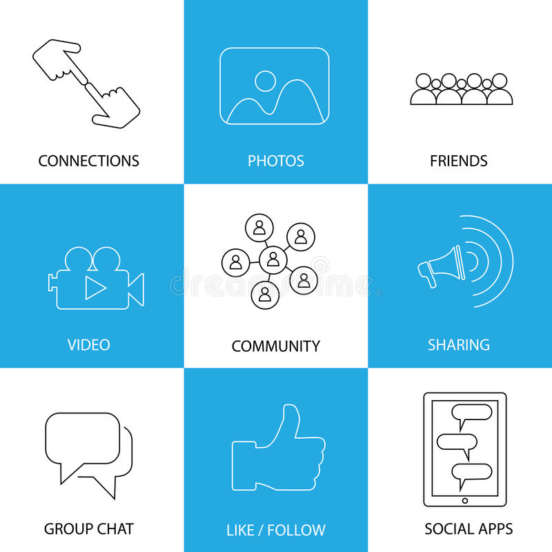 Social media icons of friends, like, videos & photos - concept v. Ector. This graphic represents internet concepts like group chat, mobile apps for sharing & vector illustration