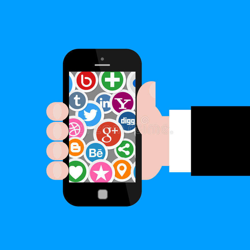 Social Media Icons with Hand Holding Smartphone 2. Illustration Collection of most popular social media and network buttons icons with hand holding smartphone vector illustration